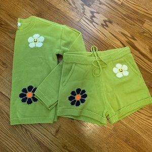 NWT Danika Green Flower Sweater Set